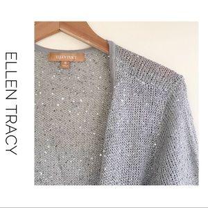 Ellen Tracy sequin Cardigan grey.
